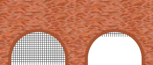 Middeleeuwse kasteelpoort en bakstenen muurillustratie