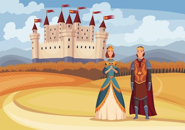 Middeleeuwse koning en koningin op sprookjesachtige middeleeuwse kasteelachtergrond. cartoon middeleeuwen historische periode