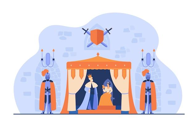 Middeleeuwse koning en koningin op troon onder bewaking van ridders in harnassen in kasteelinterieur. vectorillustratie voor koninkrijk, middeleeuwen, sprookjesconcept