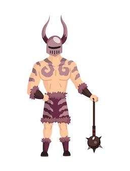 Middeleeuwse koninkrijk karakter van middeleeuwen historische periode illustratie. middeleeuwse jager of viking in volledige pantser vlakke afbeelding.