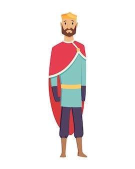 Middeleeuwse koninkrijk karakter van middeleeuwen historische periode vector illustraties.