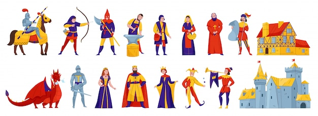 Middeleeuwse koninkrijkskarakters 2 vlakke horizontale reeksen met van de de koningenkoningin van de ruiterkoning de ridderkasteel draak vectorillustratie