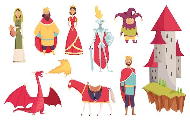 Middeleeuwse koninkrijkskarakters van middeleeuwse historische periode illustraties
