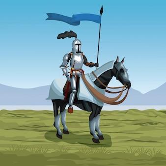Middeleeuwse krijger met paard op slagveld