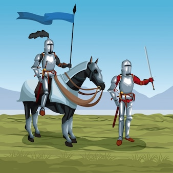 Middeleeuwse krijgers met paard op slagveld