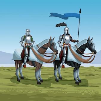 Middeleeuwse krijgers met paarden op slagveld