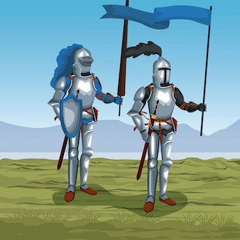 Middeleeuwse krijgers op slagveld