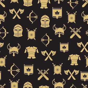 Middeleeuwse krijgers schild en zwaard naadloze patroon