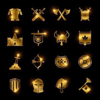 Middeleeuwse krijgers schild en zwaard vector iconen