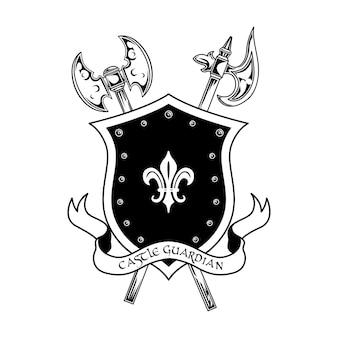Middeleeuwse krijgers wapen vectorillustratie. gekruiste assen, schild en kasteelwachter tekst. bewaker en beschermingsconcept voor emblemen of kentekensjablonen