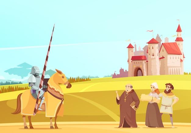 Middeleeuwse leven scène cartoon