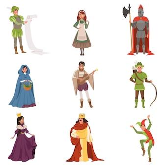 Middeleeuwse mensen karakters van europese middeleeuwen historische periode illustraties