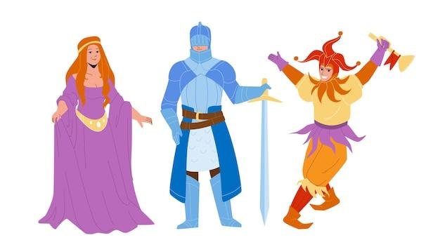 Middeleeuwse mensen lady, knight en jester vector. middeleeuwse vrouw, gekleed in aantrekkelijke jurk, krijger in harnas met zwaard en grappige man. karakters uit de historische periode platte cartoon afbeelding