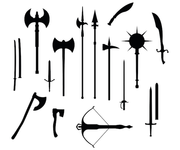 Middeleeuwse oorlogstype wapen, ingesteld pictogram kruisboog, zwaard, bijl, snoek foelie en katana oud koud wapen zwart silhouet, geïsoleerd op wit. platte uitrusting van het slagwapen van de moordwereld.