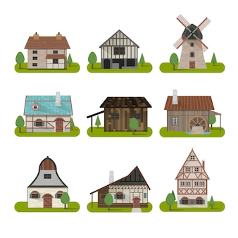 Middeleeuwse oude gebouwen instellen