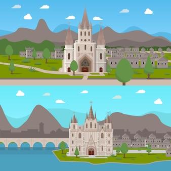 Middeleeuwse oude tempels horizontale composities