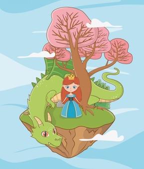 Middeleeuwse prinses en draak van sprookjesachtig ontwerp