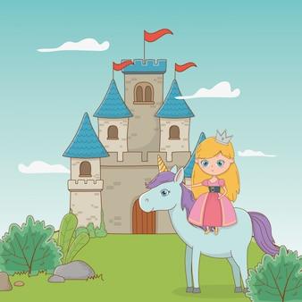 Middeleeuwse prinses en paard met sprookjesachtig ontwerp