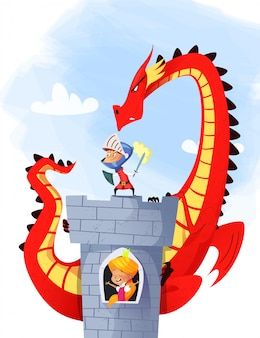Middeleeuwse ridder en draak - illustratie
