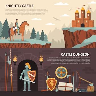 Middeleeuwse ridder horizontale banners