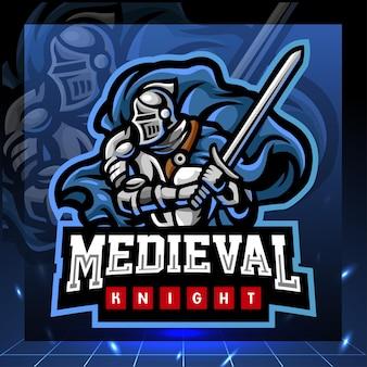 Middeleeuwse ridder mascotte esport logo ontwerp