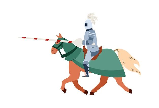 Middeleeuwse ridder met lans rijden op paard platte vectorillustratie geïsoleerd