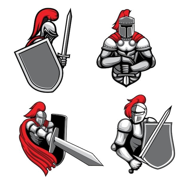 Middeleeuwse ridders met mascottes met zwaard en schild.