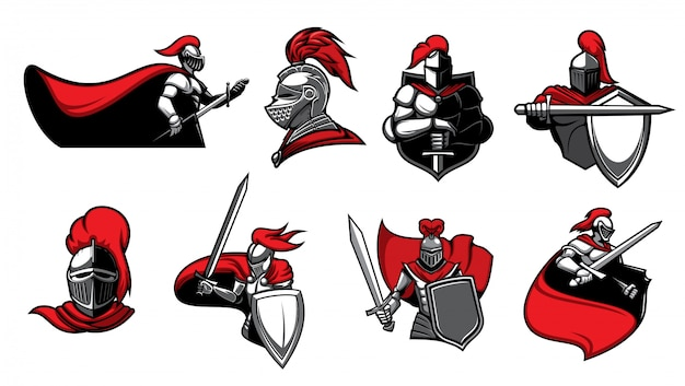 Middeleeuwse ridders met zwaarden pictogrammen