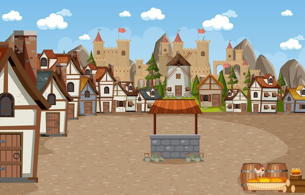 Middeleeuwse stadsscène met kasteelachtergrond