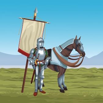 Middeleeuwse strijders in oorlog