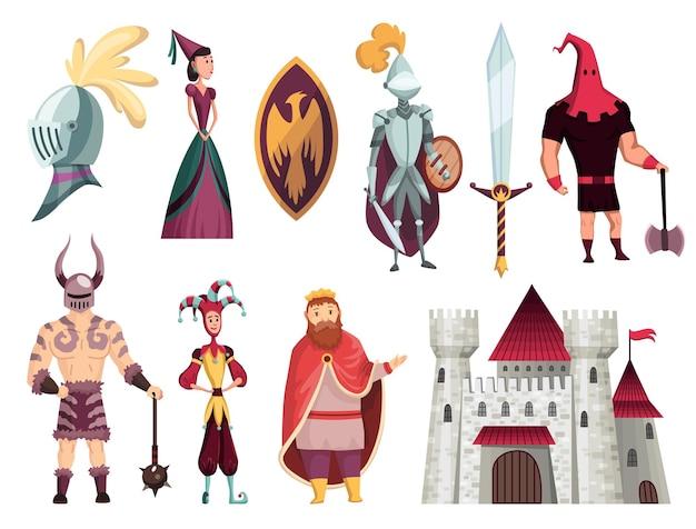 Middeleeuwse verhalen tekens platte set met boogschutter smid koning koningin hoorn bisschop krijger ridder kasteel vectorillustratie Premium Vector