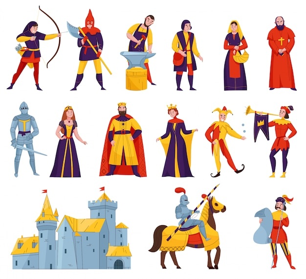 Middeleeuwse verhalen tekens platte set met boogschutter smid koning koningin hoorn blazer bisschop krijger ridder kasteel vectorillustratie