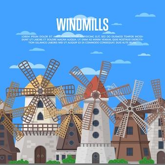 Middeleeuwse windmolens op blauwe hemelachtergrond