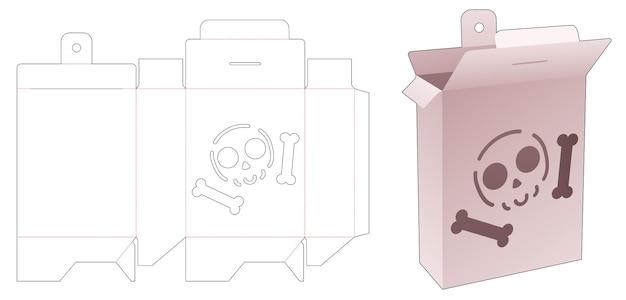 Middelste hangende doos met gesjabloneerd halloween-patroon gestanst sjabloon