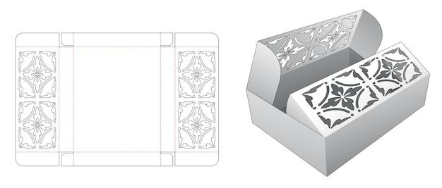 Middelste openingsdoos met gestencild patroon op gestanste flips-sjabloon