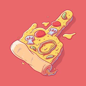 Middelvinger pizza. reclame, fast food, symbool ontwerpconcept