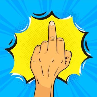Middelvingersymbool in komische stijl
