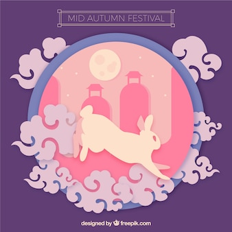 Midden herfst festival, roze en paarse scène