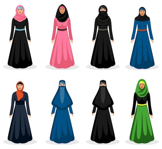 Midden-oosterse vrouwenset. traditionele arabische hijab, etniciteit meisje kleding, vectorillustratie