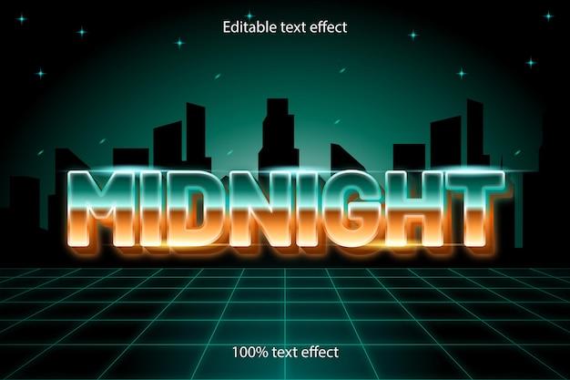 Middernacht bewerkbare teksteffect retro-stijl