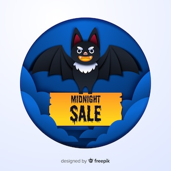 Middernacht halloween verkoop met vrolijke vleermuis