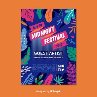 Middernacht muziek festival poster sjabloon
