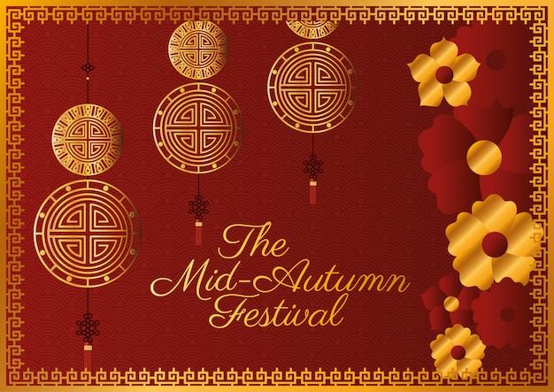 Midherfstfestival met gouden gelukshangersbloemen en lijst