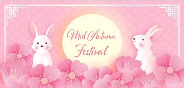 Midherfstfestival met schattige konijnen in papierstijl. chinees vertalen: midherfstfestival.