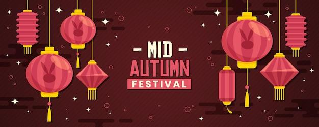 Midherfstfestivalbanner in plat ontwerp