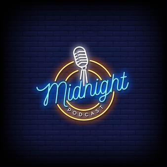 Midnight podcast logo neon signs style text