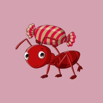 Mieren dragen snoep, vector