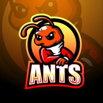 Mieren mascotte esport logo ontwerp