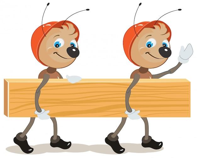 Mierenbouwer. twee mieren zijn aan boord