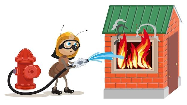 Mierenbrandweerman blust huis